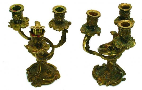 BRASS CANDLESTICKS PAIR ORNATE DECORATIVE