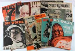 LOT OF 17 WWII DIE WOCHE & OTHER GERMAN MAGAZINES