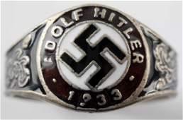 WWII GERMAN THIRD REICH HITLER 1933 SILVER RING