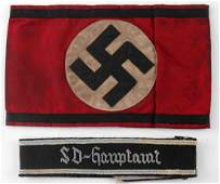 WWII GERMAN THIRD REICH CUFF TITLE AND ARMBAND LOT