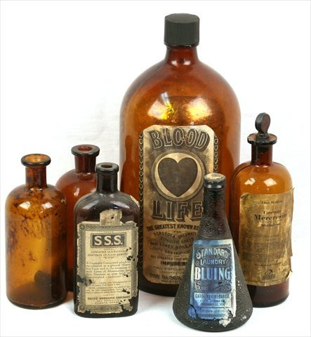 ANTIQUE APOTHECARY AMBER GLASS BOTTLES UPJOHN