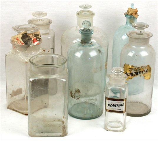 ANTIQUE APOTHECARY LARGE GLASS JARS BOTTLES