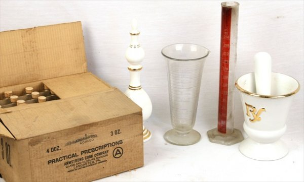 ANTIQUE APOTHECARY MEASURING BEAKERS BOTTLES