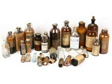 ANTIQUE APOTHECARY MEDICINE GLASS BOTTLES AMBER