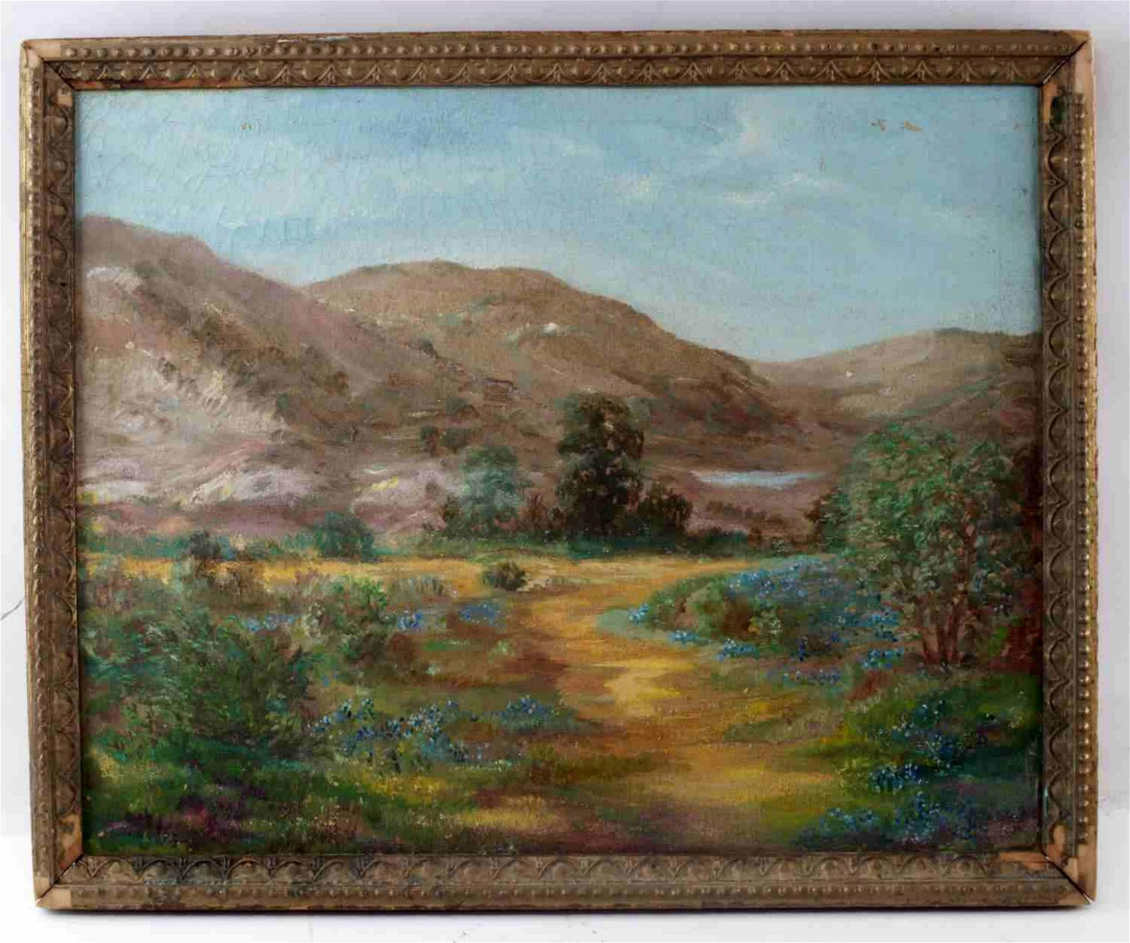 UNSIGNED OIL ON CANVAS LANDSCAPE W MOUNTAINS