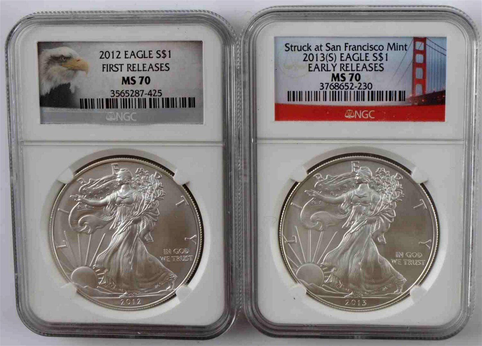 LOT OF 2 MS70 NGC AMERICAN SILVER EAGLE COINS