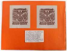 THIRD REICH GERMAN PAIR UNUSED HITLER BOOKPLATES