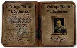 WWII GERMAN THIRD REICH 1.GEBIRGS DIVISION AUSWEIS