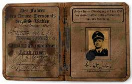 WWII GERMAN 3RD REICH WAFFEN SS DRIVER AUSWEIS ID