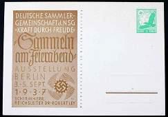 1937 WWII GERMAN THIRD REICH STAMPED POSTCARD