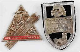 WWII GERMAN 3RD REICH NSFK SS PLAQUE & SHIELD LOT