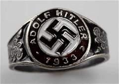 WWII GERMAN THIRD REICH 1933 HITLER SILVER RING