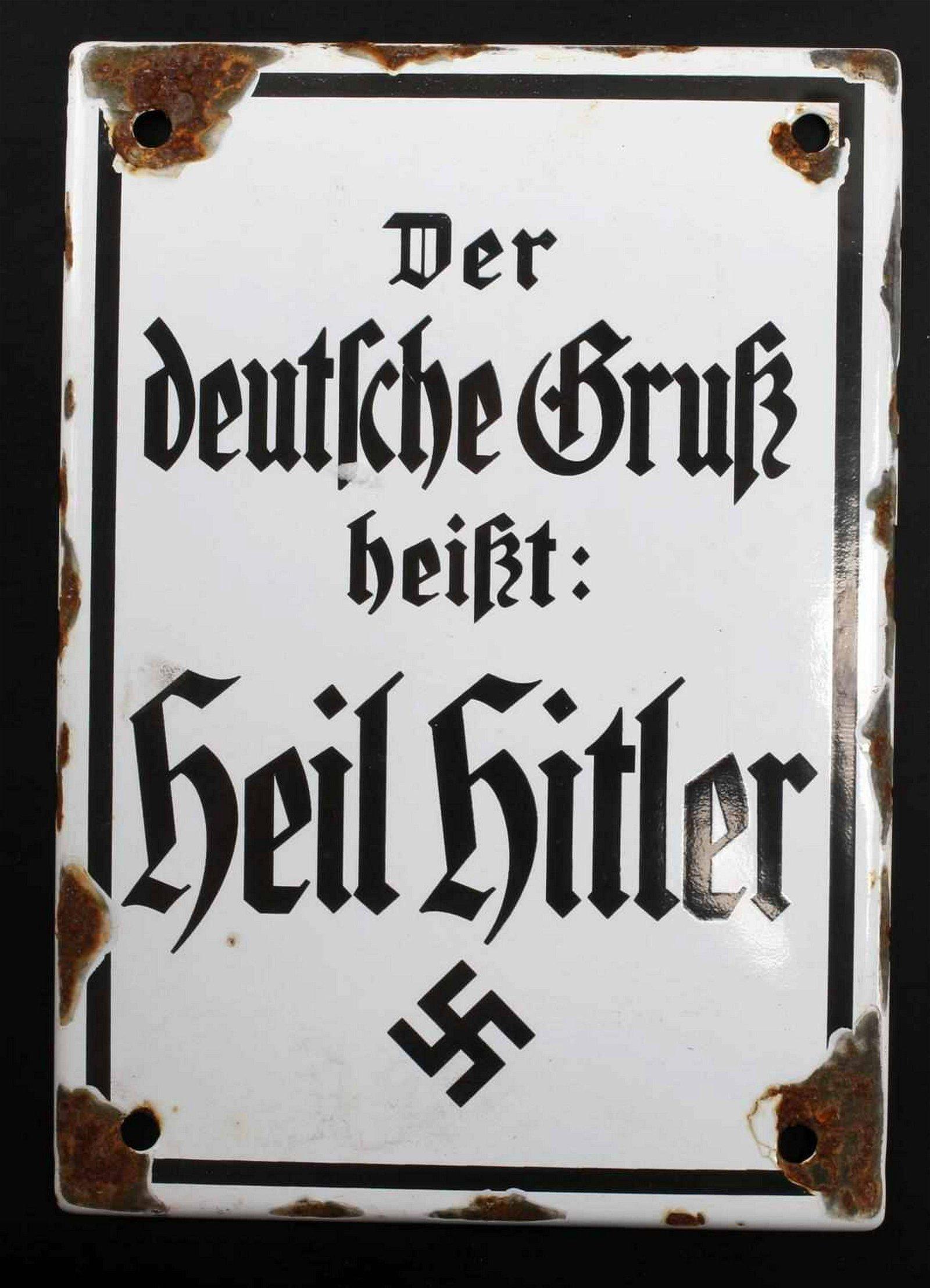 WWII GERMAN THIRD REICH PROPAGANDA ENAMEL SIGN