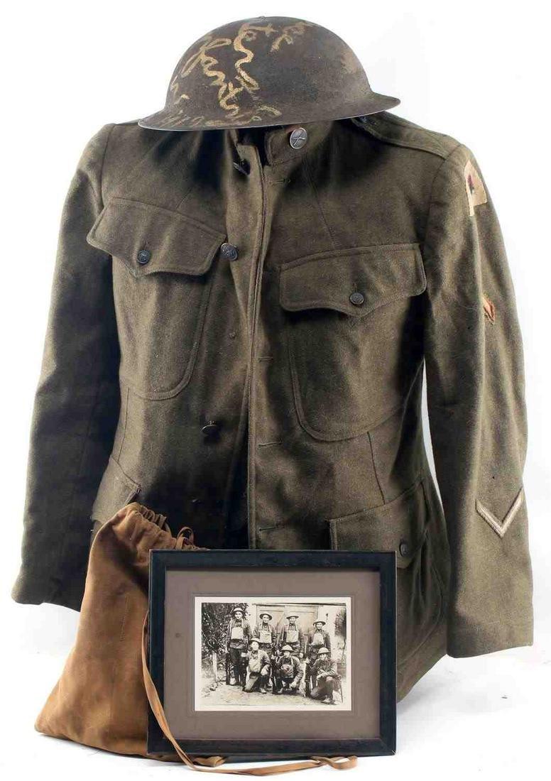 WWI AEF 41ST DIVISION INFANTRY EM TUNIC & HELMET