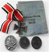 WWII GERMAN 3RD REICH IRON CROSS & BADGE LOT OF 4