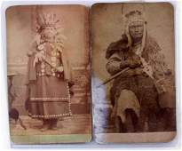 ANTIQUE CDV PHOTOGRAPHS 2 PLAINS INDIAN PHOTO