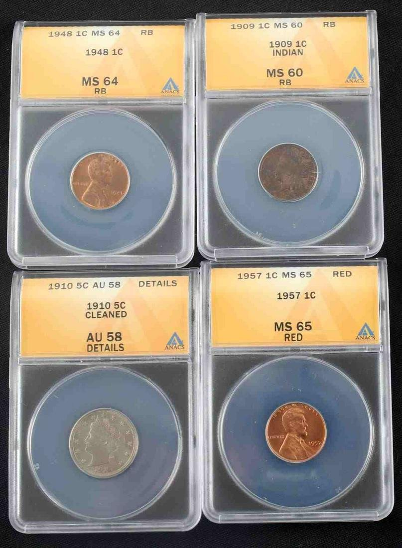 US ANTIQUE AND VINTAGE COIN LOT OF 4 ANACS GRADED