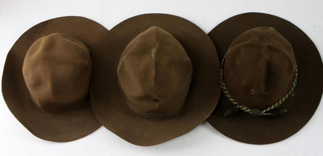 LOT OF THREE US ARMY ISSUE CAMPAIGN HATS