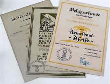 WWII GERMAN THIRD REICH. LOT OF 3 AWARD DOCUMENTS