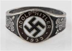 WWII GERMAN ADOLF HITLER 1933 SILVER RING