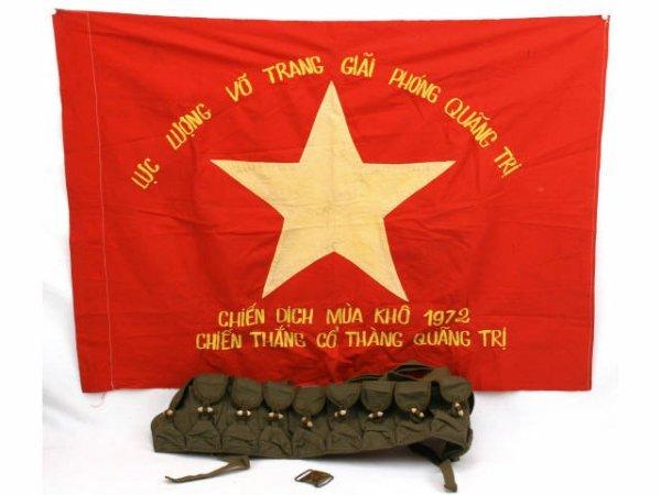 VIETNAM LOT BATTLE FLAG BANDOLEER AND BELT BUCKLE