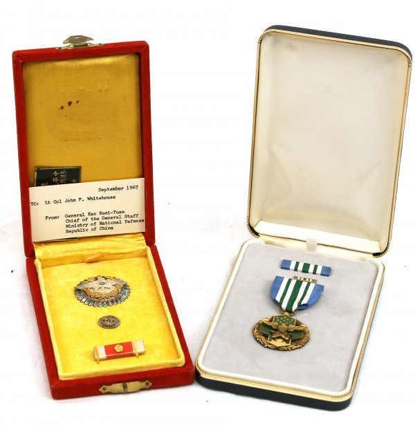 NAMED LOT OF TWO MEDALS COL JOHN WHITEHOUSE 1967