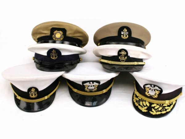 U.S. NAVY USCG VISOR HAT LOT CPO TO CAPTAIN