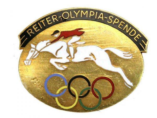 1936 OLYMPICS OLYMPIAD EQUESTRIAN BADGE PIN BACK