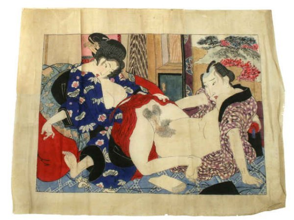 ORIGINAL EDO JAPANESE SHUNGA SILK WOODBLOCK PRINT