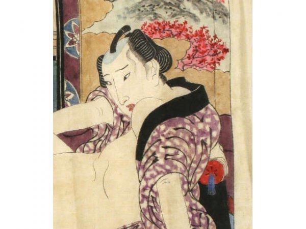 ORIGINAL EDO JAPANESE SHUNGA SILK WOODBLOCK PRINT - 2