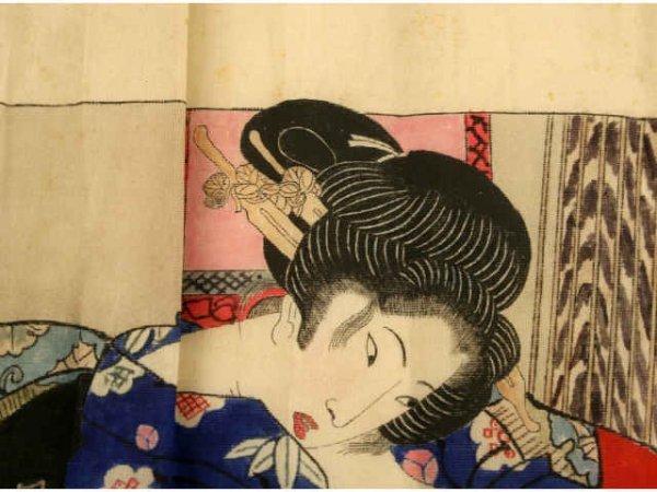 ORIGINAL EDO JAPANESE SHUNGA SILK WOODBLOCK PRINT - 3