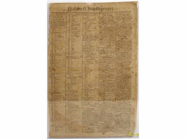 NATIONAL INTELLIGENCER NEWSPAPER WAR OF 1812