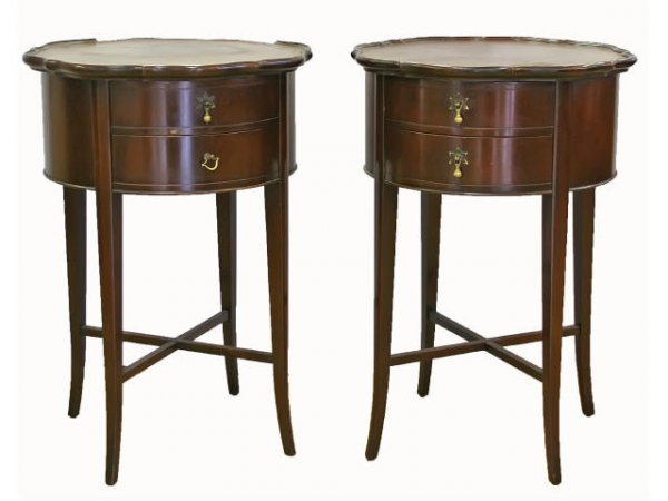 TWO ANTIQUE IMPERIAL MICHIGAN MAHOGANY END TABLES
