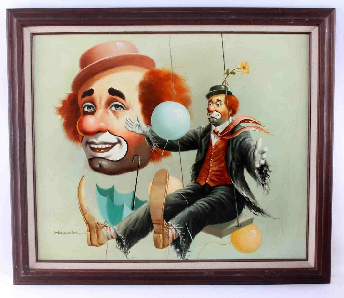 HOPPIN PAINTING OF TWO CLOWNS OIL ON CANVAS