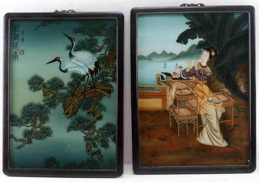 PAIR OF REVERSE PAINTED GLASS CHINESE PAINTINGS