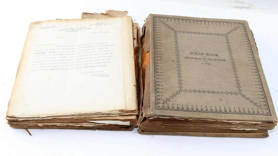 1907 TO 1920 US PATENT OFFICE DOCUMENT SCRAP BOOK