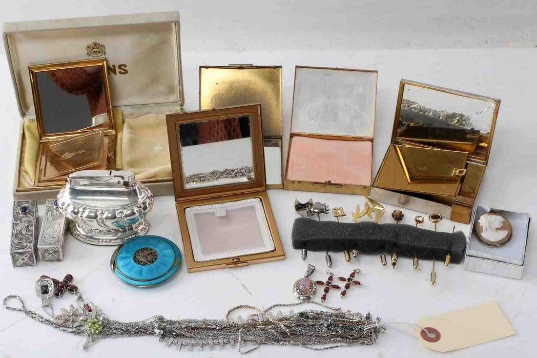 LOT COSTUME & STERLING JEWELRY COMPACTS & MORE