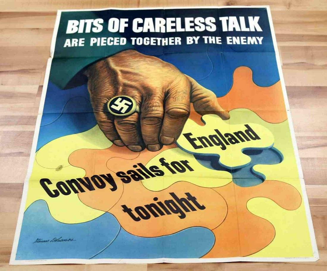 WWII US PROPAGANDA POSTER IN COLOR CARELESS TALK