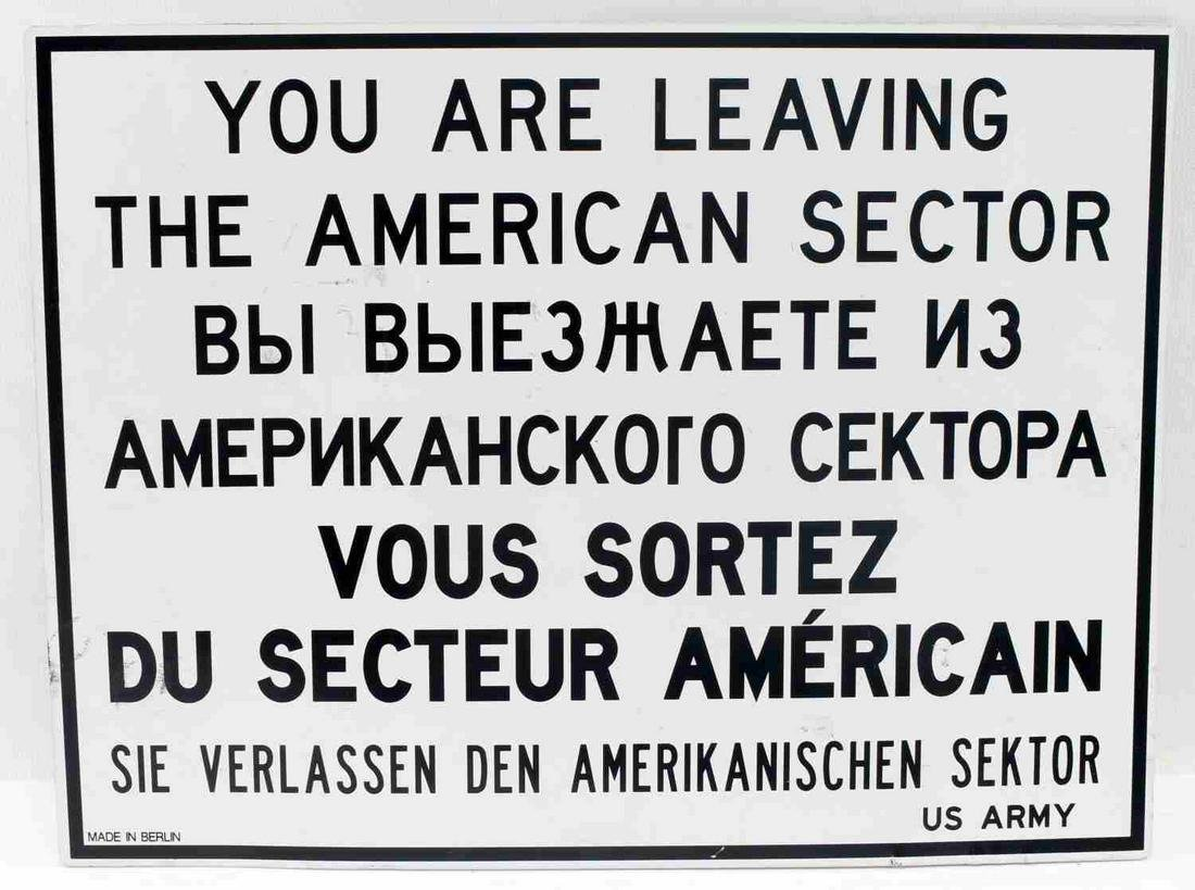 US ARMY COLD WAR PERIOD BERLIN BORDER SIGN