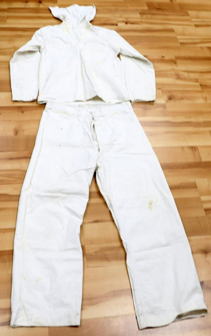 WWII US NAVAL UNIFORM WHITE JUMPSUIT AND TROUSERS