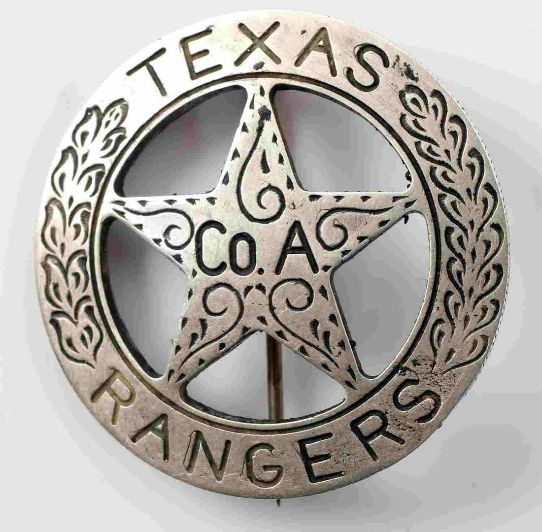TEXAS RANGER BADGE STRUCK FROM MEXICAN 5 PESO COIN