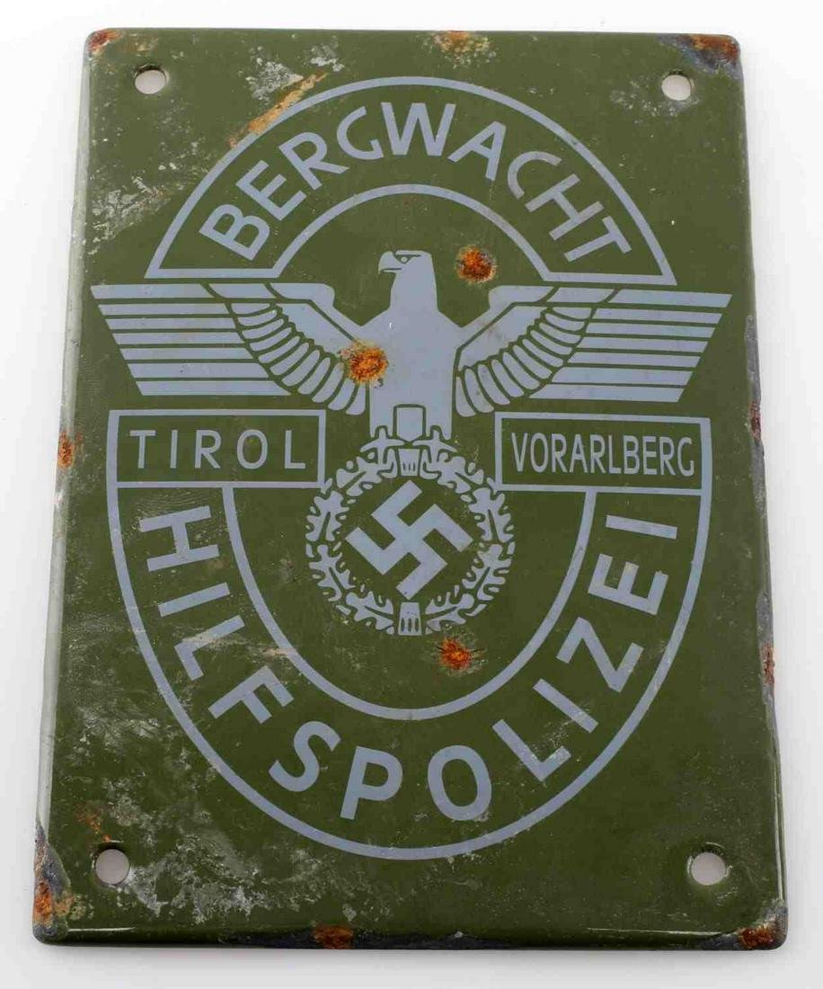 WWII GERMAN REICH BERGWACHT HILFSPOLIZEI PLAQUE