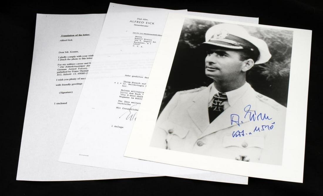 WWII GERMAN U BOAT COMMANDER ALFRED EICK AUTOGRAPH