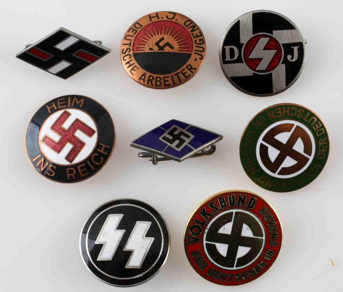 LOT OF 8 WWII GERMAN POLITICAL PARTY PINS SWASTIKA
