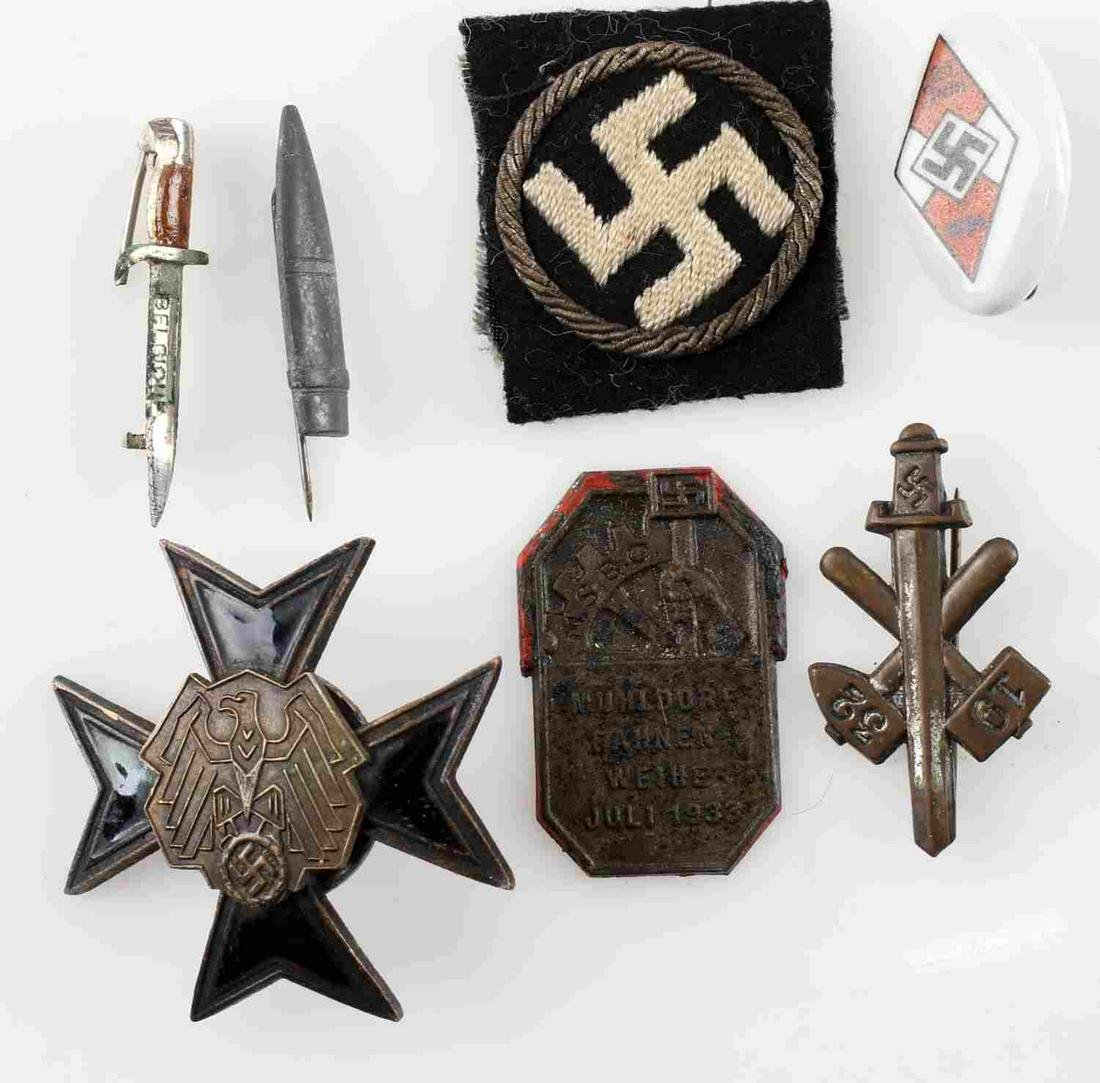 WWII GERMAN THIRD REICH PIN BADGE & PATCH LOT OF 7