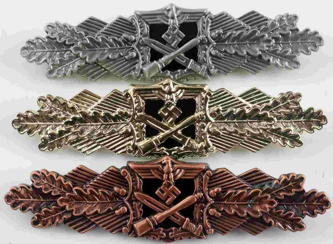 LOT 3 WWII THIRD REICH GERMAN CLOSE COMBAT BADGES