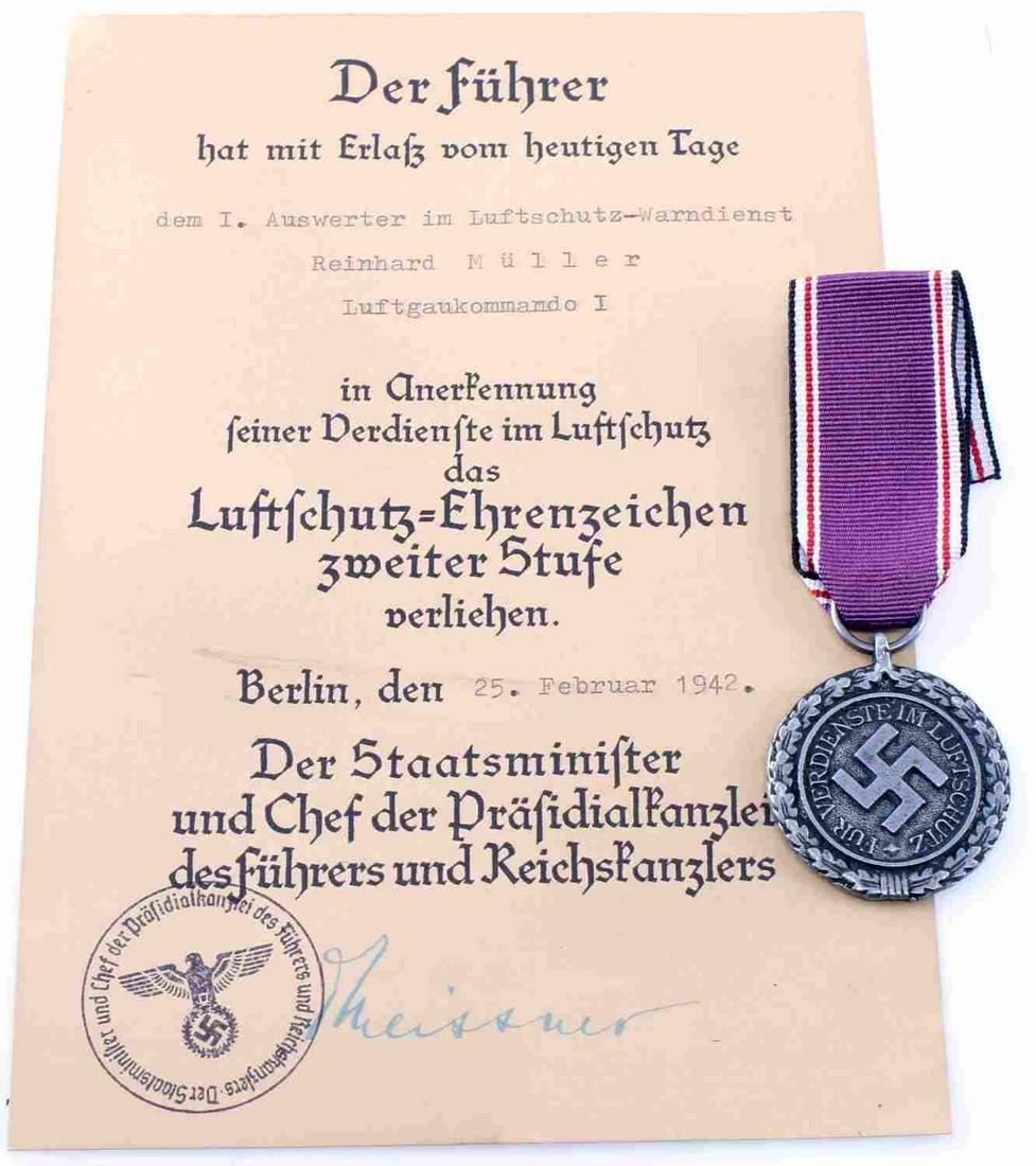 WWII GERMAN LUFTSCHUTZ 2ND CLASS MEDAL W CITATION