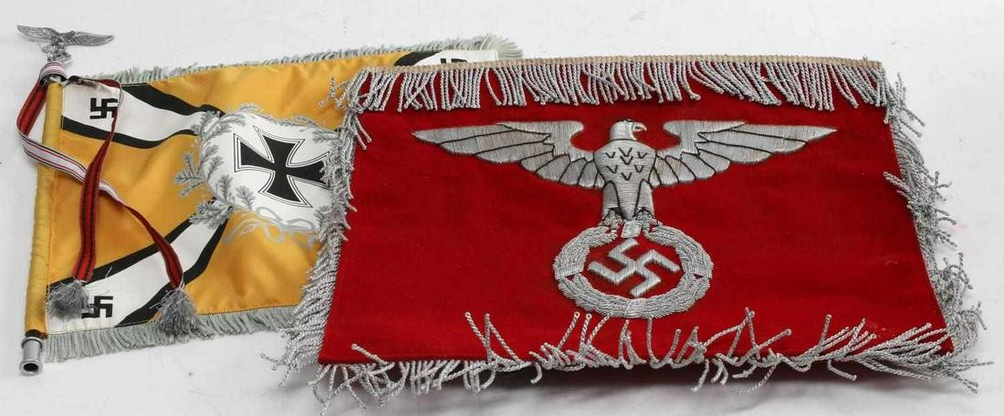 WWII GERMAN THIRD REICH BANNER LOT OF TWO REPRO