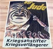 WWII GERMAN 3RD REICH ANTI SEMITIC POSTER DER JUDE