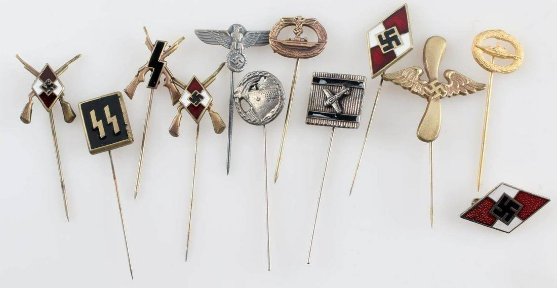 WWII GERMAN 3RD REICH LOT OF 12 PINS SS LUFTWAFFE
